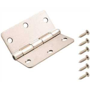 Everbilt 14985 3-1/2 in. x 1/4 in. Radius Satin Nickel Door Hinge Pack of 30