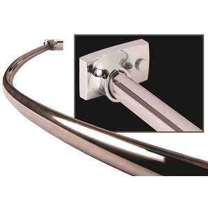 WingIts WOCONPS5NC 5 ft. Contour Oval Curved Shower Rod for New Construction, Polished Stainless Steel