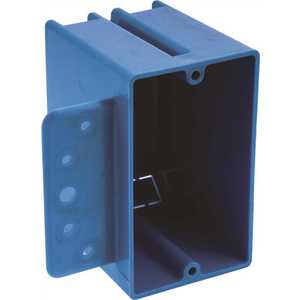 Carlon B118B-UPC 1-Gang 18 cu. in. Blue PVC New Work Electrical Switch and Outlet Box with Bracket