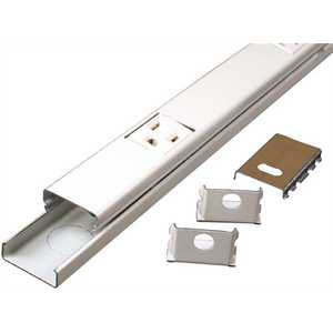Wiremold V20GB606 Plugmold 6 ft. 12-Single Prewired Steel Outlet Strip, Ivory Beige