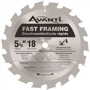 Avanti A05318X 5-3/8 in. x 18-Tooth Fast Framing Saw Blade