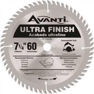 Avanti A0760R 7-1/4 in. x 60-Teeth Fine Finish Saw Blade