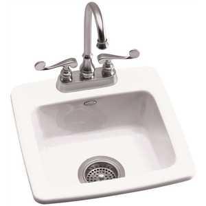 Kohler K-6015-2-0 Gimlet Drop-In Acrylic 15 in. 2-Hole Single Bowl Bar Sink in White