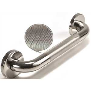 WingIts WGB5PSKN18 Premium Series 18 in. x 1.25 in. Diamond Knurled Grab Bar in Polished Stainless Steel (21 in. Overall Length)