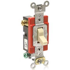 Leviton A1223-2I ANTIMICROBIAL TREATED SPECIFICATION GRADE TOGGLE SWITCH, 3-WAY, SELF-GROUNDING, 120/277 VOLTS, 20 AMP, IVORY