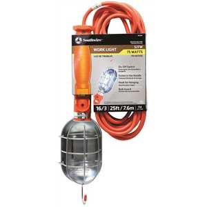 Woods 691 75-Watt 25 ft. 16/3 SJTW Incandescent Portable Heavy-Duty Guarded Trouble Work Light with Hanging Hooks Orange
