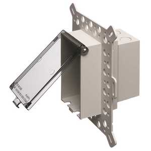 Arlington Industries DBVM1C 1-Gang Vertical Low Profile-In Box Recessed Electrical Box for New Stucco Construction, Clear Cover