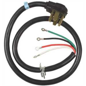 Whirlpool PT600L 6 ft. 4-Wire 30 Amp Dryer Cord Black, Green, Red, White