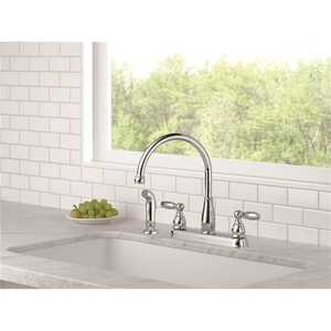Delta 21988lf Foundations 2 Handle Standard Kitchen Faucet With Side Sprayer In Chrome