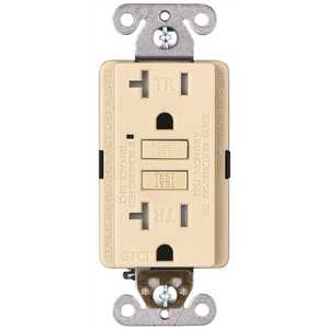 Faith GLS-20ATR-IV-10 20-Amp 125-Volt GFCI Duplex Tamper Resistant Outlet, GFI Receptacle with Indicator Light and Wall Plate, Ivory Pack of 10