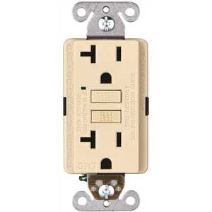 Faith GLS-20A-IV-10 20-Amp 125-Volt GFCI Duplex Outlet, GFI Receptacle with Indicator Light, Wall Plate Included, Ivory Pack of 10
