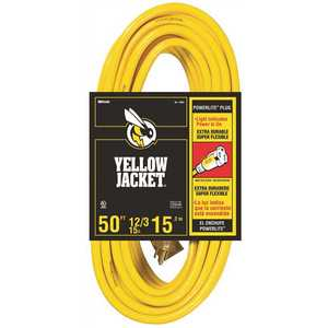 YELLOW JACKET 64827002 50 ft. 12/3 SJTW Outdoor Heavy-Duty Extension Cord with Power Light Plug Yellow