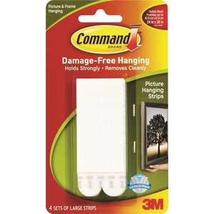 Command 17206 4 lbs. Large White Plastic Picture Hanging Strips