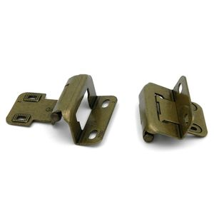 Functional Hardware Self-Closing Partial Wrap Cabinet Hinges 1/2 Inch Overlay Burnished Brass
