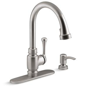 Kohler R72512-SD-VS 15.4375 Inches Height Carmichael Single-Handle Pull-Down Sprayer Kitchen Faucet in Stainless Steel Vibrant Stainless
