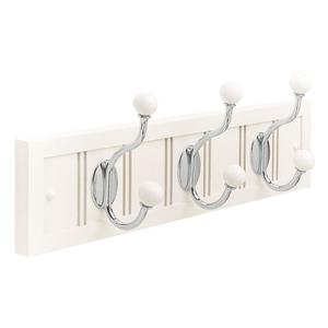 Amerock h55640ww26 18 in. White Wood Beadboard Rack with Polished Chrome and White Hooks