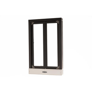 "Brixwell 9021-CX 24-3/8""(w) x 38-7/8""(h) 16"" (w) x 32""(h) Manual Transaction Window With Bi-Fold Doors Clear Anodized Aluminum"