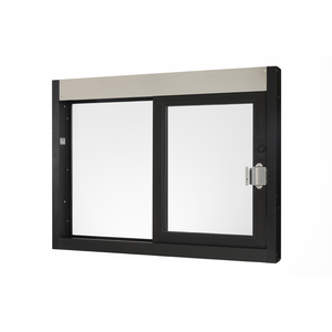 """Brixwell 9068-BL 48-3/8""""(w) x 36-3/8""""(h) 20-1/4"""" (w) x 29"""" (h) Self-Closing Side Sliding Transaction Window With 5/8"""" Insulated Glass Left Hand Slide Dark Bronze"""