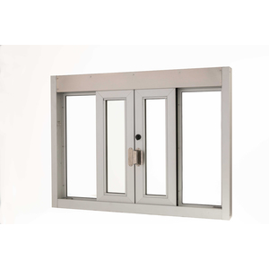 "Brixwell 9114-BX 48-3/8""(w) x 36-3/8""(h) 16-1/4""(w) x 28-5/8""(h) Self Closing Bi-Parting Drive-Thru Slider Window Manually Operated Dark Bronze"