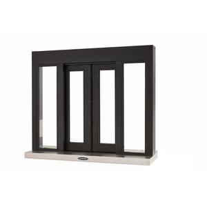 "Brixwell 9108-BX 42-3/8""(w) x 36-3/8""(h) 14""(w) x 28-1/2""(h) Self Closing Bi-Parting Drive-Thru Slider Window Manually Operated with Micro Switch Dark Bronze"