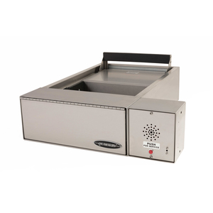 "Brixwell 9144 21-1/8"" (w) X 6-5/8"" (h) Drive-Thru Transaction Drawer With 15 inches Exterior Edge With Speaker Stainless Steel"