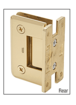 CRL P1N537UBR Ultra Brass Pinnacle 537 Series Wall Mount Full Back Plate Standard Hinge With 5 Degree Offset