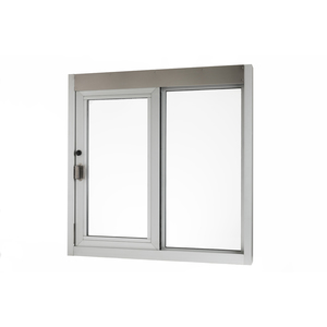 """Brixwell 9183-CR 48-3/8""""(w) x 48-3/8""""(h) 20-1/4"""" (w) x 41"""" (h) Self-Closing Side Sliding Transaction Window With 5/8"""" Insulated Glass Right Sliding With Energy Efficient And Bullet-Resistant Clear Anodized Aluminum"""