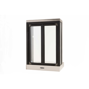 "Brixwell 9528-BX 28-1/8""(w) x 40-3/8""(h) 20""(w) x 32""(h) Semi Automatic Pass-Thru Window with Bi-Fold Doors Projected Window With Shelving Dark Bronze"