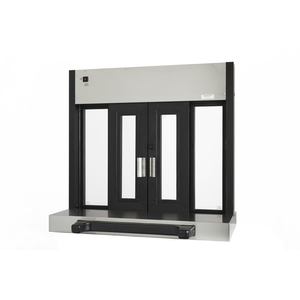 "Brixwell 9607-BX 42-1/2""(w) x 40-1/2""(h) 15-1/2""(w) x 27""(h) Fully Automatic Bi-Parting Pass-Thru Electric Slider Window Flush Mount Dark Bronze"