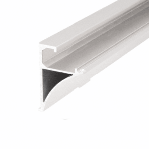 "White 96"" Aluminum Shelving Extrusion for 1/4"" Glass"