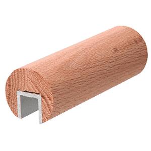 """Red Oak 2"""" Diameter Wood Cap Rail - 1/2"""" or 5/8"""" Glass"""