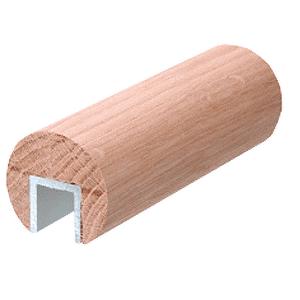 """Ash Wood 2-1/2"""" Diameter Cap Rail - 1/2"""" or 5/8"""" Glass"""