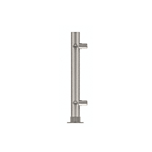 "CRL PP56LBS Brushed Stainless 18"" High 1"" Round PP56 Slimline Series Straight Front Counter/Partition Corner Post"
