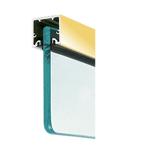 "Polished Brass Wide U-Channel With Top Load Roll-In Glazing Gasket for 3/4"" Glass - 120"" Length"