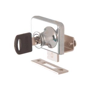 "CRL LK346KA Chrome Clamp-On Lock for 3/8"" Double Glass Door - Keyed Alike"