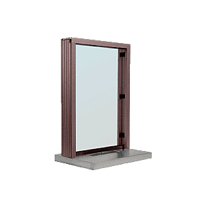 "CRL S11W18DU Dark Bronze Aluminum Standard Inset Frame Interior Glazed Exchange Window with 18"" Shelf and Deal Tray"
