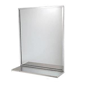 "CRL B1661620 Stainless Steel 16"" x 20"" Bobrick Mirror-Shelf Combination"