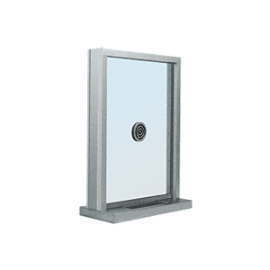 "CRL S1EW12S Brushed Stainless Steel Frame Exterior Glazed Exchange Window with 12"" Shelf and Deal Tray"