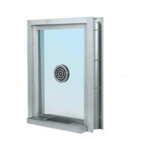 "CRL C0EW2436A Satin Anodized 28"" Wide x 38"" High Bullet Resistant Clamp-On Exterior Window With Speak-Thru and Shelf With Deal Tray Protection Level 1"