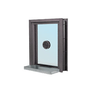 "CRL C0EW18DU Dark Bronze Aluminum Clamp-On Frame Exterior Glazed Exchange Window with 18"" Shelf and Deal Tray"