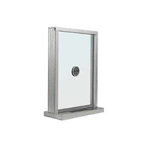 "CRL S1EW12A Satin Anodized Aluminum Standard Inset Frame Exterior Glazed Exchange Window with 12"" Shelf and Deal Tray"