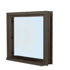 "Dark Bronze 40"" Wide Bullet Resistant Interior Window with Surround and 12"" Shelf with Deal Tray"