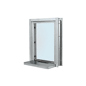 "Satin Anodized Aluminum Clamp-On Frame Interior Glazed Exchange Window with 18"" Shelf and Deal Tray"