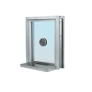 "CRL C0EW18A Satin Anodized Aluminum Clamp-On Frame Exterior Glazed Exchange Window with 18"" Shelf and Deal Tray"