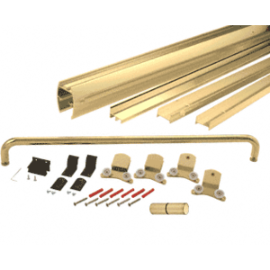 "CRL DK386072BGA Brite Gold Anodized 60"" x 72"" Cottage DK Series Sliding Shower Door Kit with Metal Jambs for 3/8"" Glass"