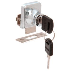 """CRL LK42KA Chrome Lock for 1/4"""" Cabinet Glass Door - Keyed Alike"""