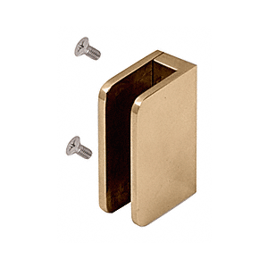 "CRL SA94FBR Polished Brass 1/4"" Top Flat Base Glass Clip"