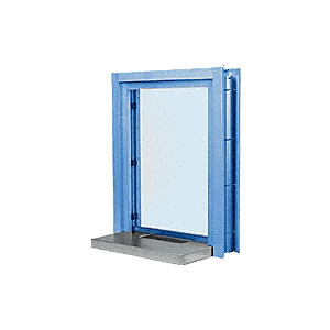 """CRL C01W18P Painted (Specify) Aluminum Clamp-On Frame Interior Glazed Exchange Window with 18"""" Shelf and Deal Tray"""