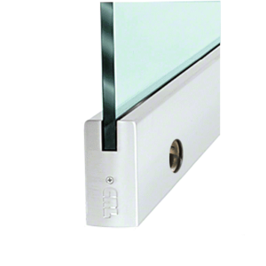 """CRL DR4SSA12CL Satin Anodized 1/2"""" Glass 4"""" Square Door Rail With Lock - Custom Length"""