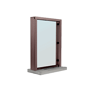 "CRL S11W12DU Dark Bronze Aluminum Standard Inset Frame Interior Glazed Exchange Window with 12"" Shelf and Deal Tray"